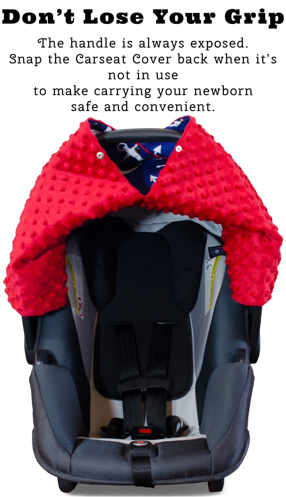Nautical Anchor Car Seat Canopy With Red Dot Minky And Peekaboo OpeningTM