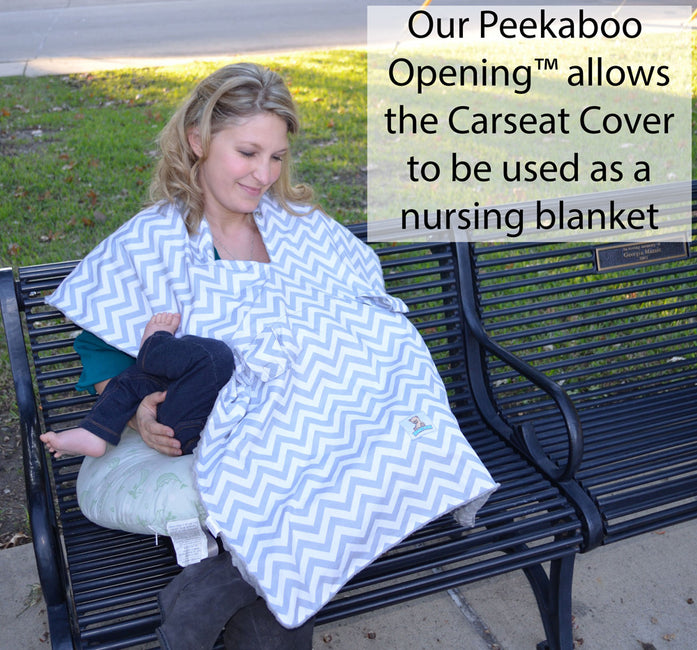 Our carseat cover can be used as nursing blanket
