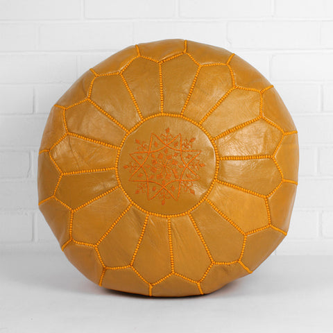 Moroccan leather pouffe, dark mustard