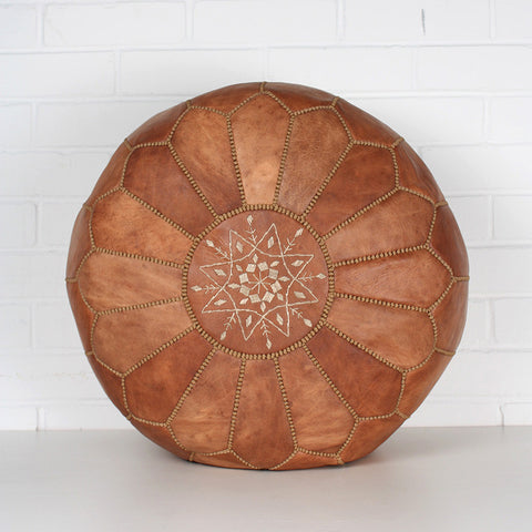 Moroccan leather pouffe, tan