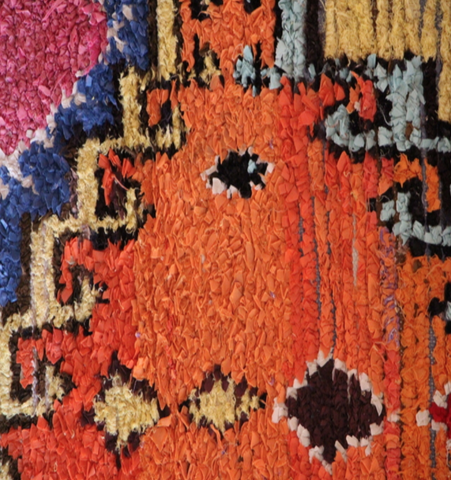 moroccan berber boucherouite rug orange