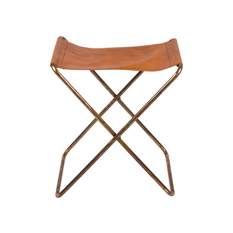 Tan leather and copper stool