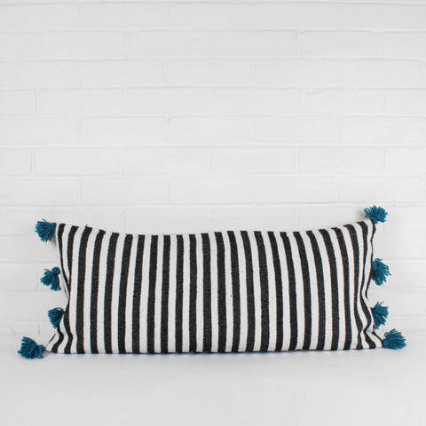 striped tassel cushion blue