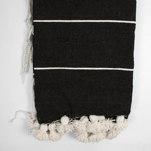 monochrome throw pom pom