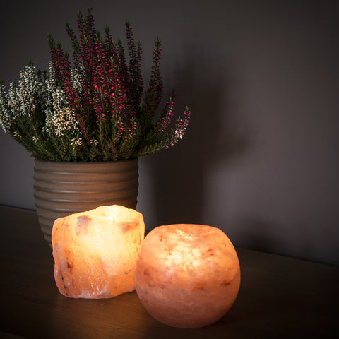 Spherical salt tea light holder