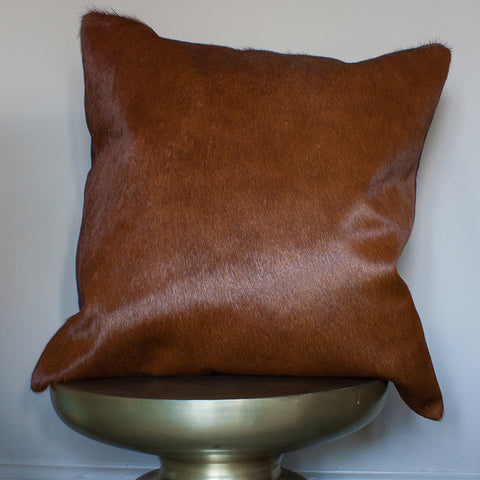 chestnut cowhide cushion