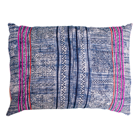 indigo and pink cushion brass zip