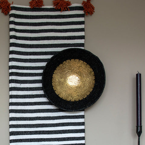 Hammered brass and sisal bowl - Black