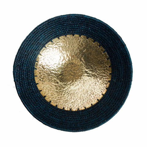 Hammered brass and sisal bowl - Teal