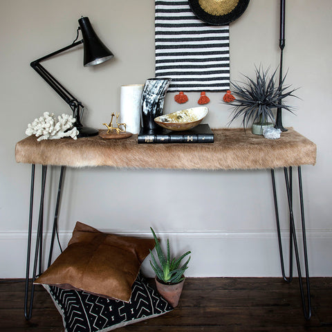 Cowhide console table - Ronnie