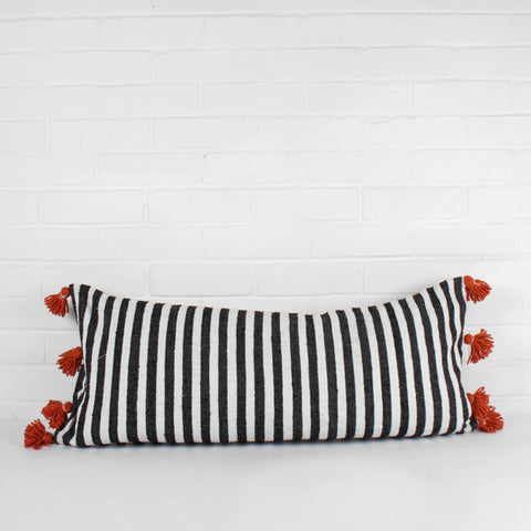 Striped tassel pillow – orange