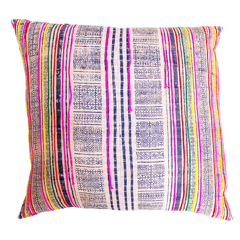 vintage indigo and pink cushion brass zip