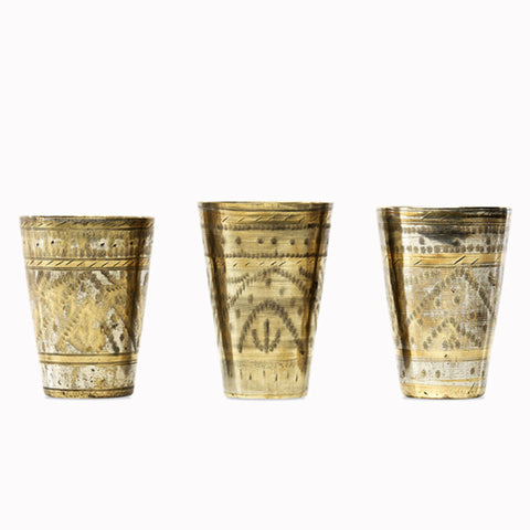 antique brass lassi cups
