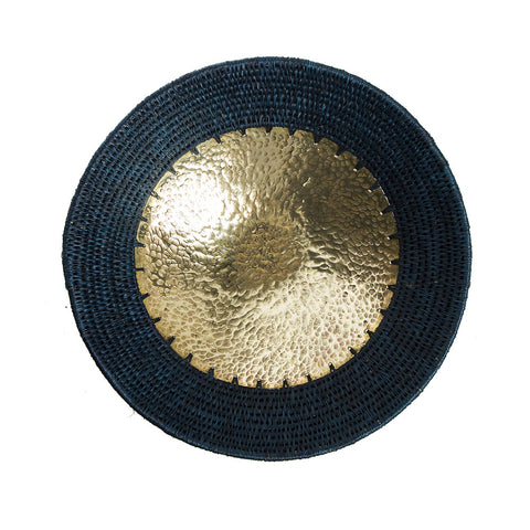 brass and sisal bowl (black)