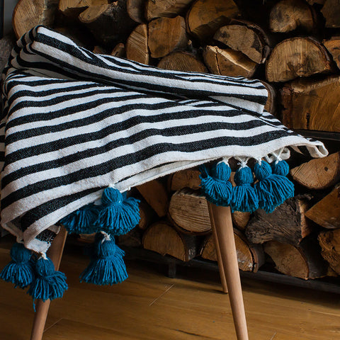 Large striped tassel throw