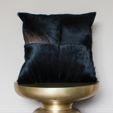 black brown cowhide cushion