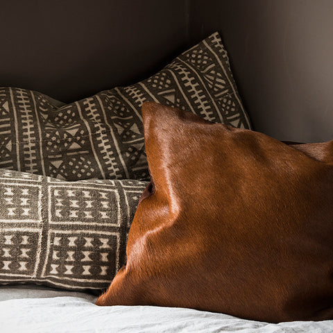 Vintage mud cloth cushion - taupe