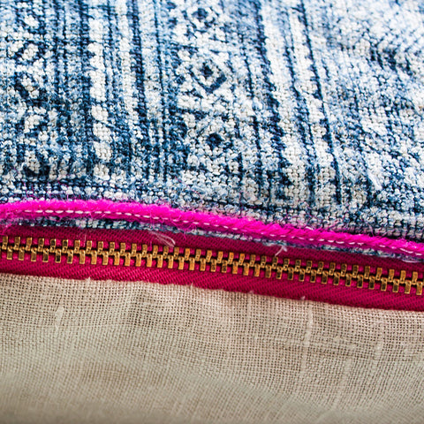 blue indigo and pink cushion brass zip