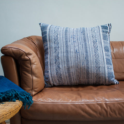 vintage indigo cushion brass zip