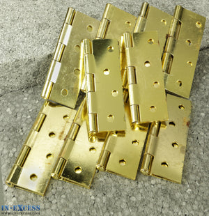 "10x Steel Butt Hinge 100mm (4"") Brass Plated EBH4"