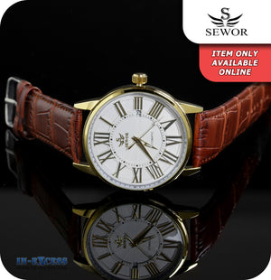 Sewor Marvel Skeleton Mechanical Wrist Watch With Genuine Leather Strap - White Gold