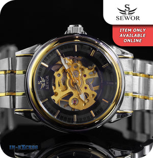 Sewor Imperial Vintage Mechanical Wrist Watch With Link Strap - Black Gold