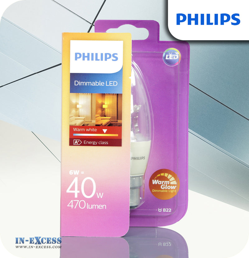 Philips Dimmable LED Candle Bulb 6W (40W) B38 B22 Clear - Warm White