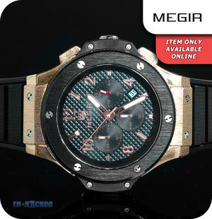 Megir Kubot Chronograph Black Watch With Silicone Strap - Black Rose Gold