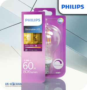 Philips Dimmable LED Bulb 7.5W (60W) A60 B22 820 Clear - Warm White