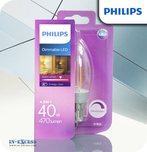 Philips Dimmable LED Candle Bulb 4.5W (40W) B35 B22 Clear - Warm White