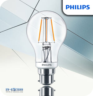 Philips Classic LED Bulb 4.5W (40W) Dimmable A60 B22 827 Clear - Warm White