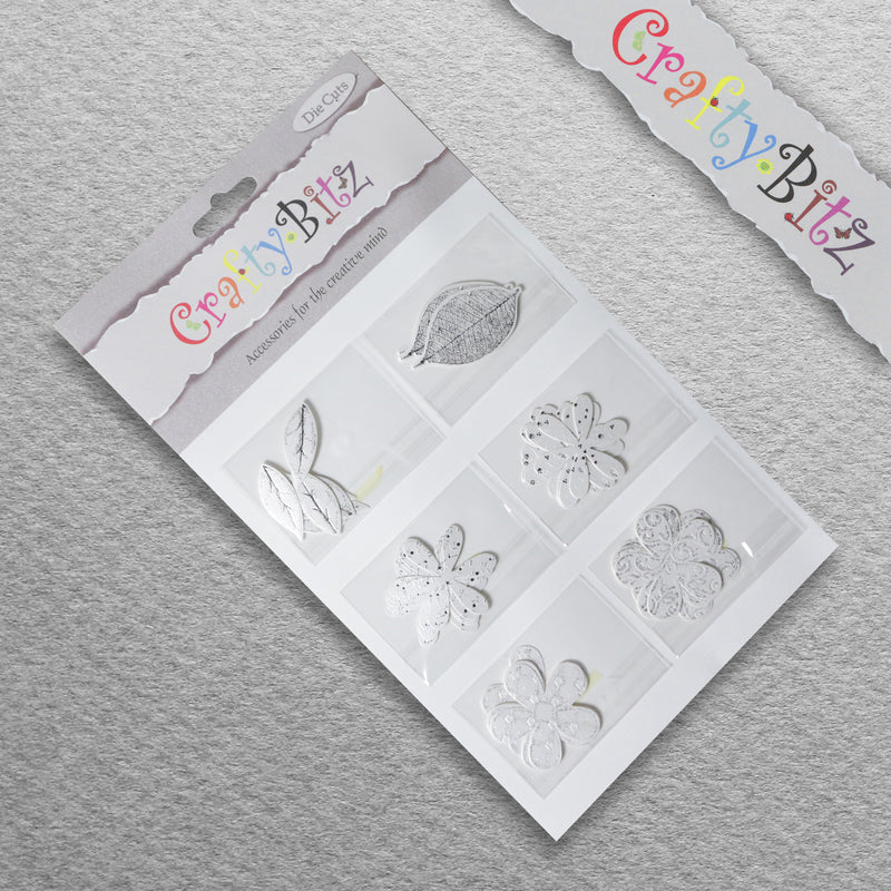 Card Making/Topper Pack - White Flowers & Leaves by Crafty Bitz, sold by In-Excess