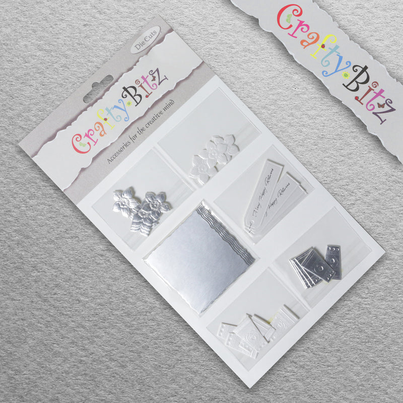Card Making/Topper Pack - Silver Flowers & Glasses by Crafty Bitz, sold by In-Excess