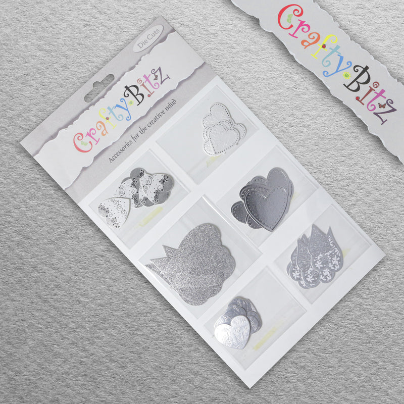 Card Making/Topper Pack - Silver Hearts by Crafty Bitz, sold by In-Excess