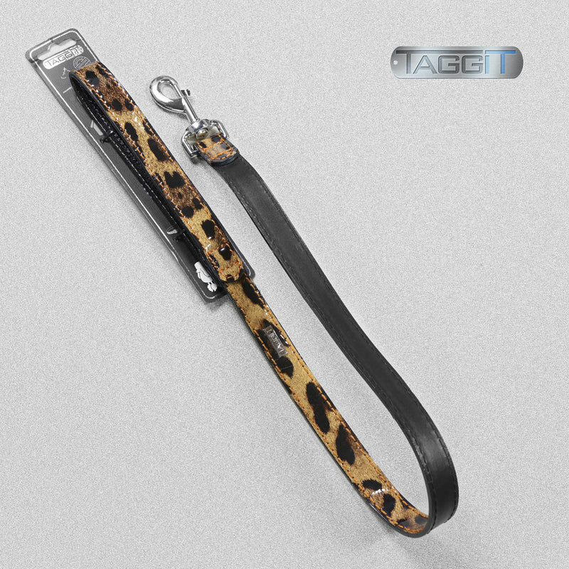 Taggit Premium Leather Patent Dog Lead Leopard - 2 Sizes