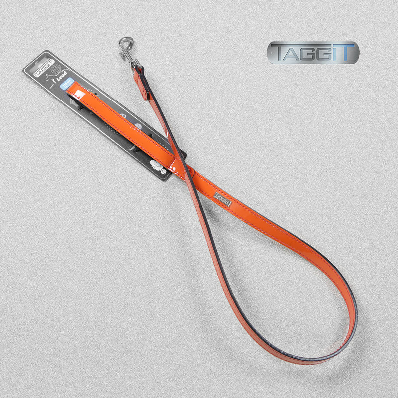 Premium Leather Patent Dog Lead - Orange by Taggit, sold by In-Excess