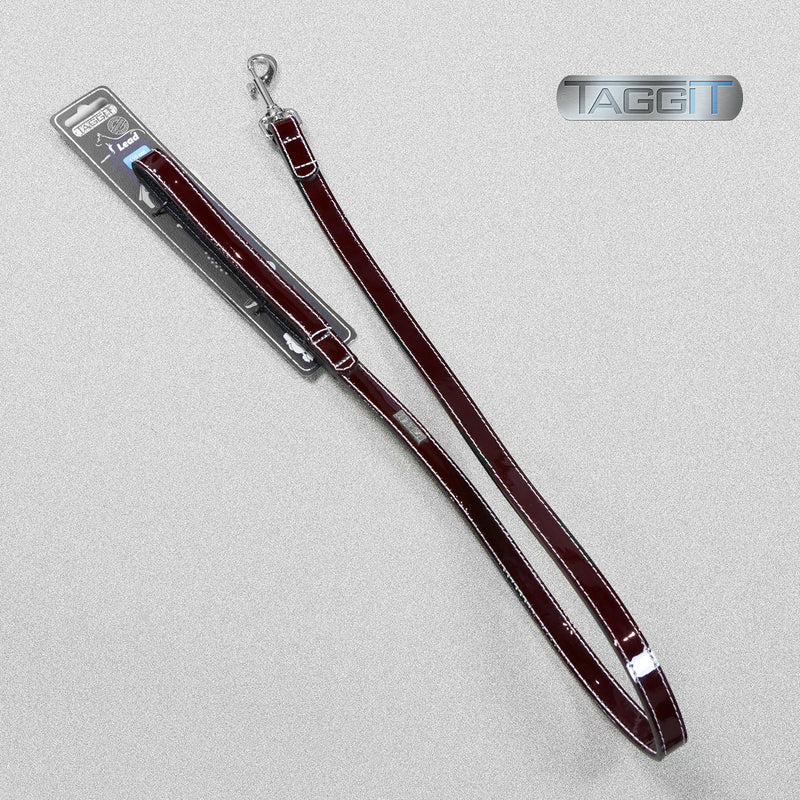 Premium Leather Patent Dog Lead - Burgundy by Taggit, sold by In-Excess