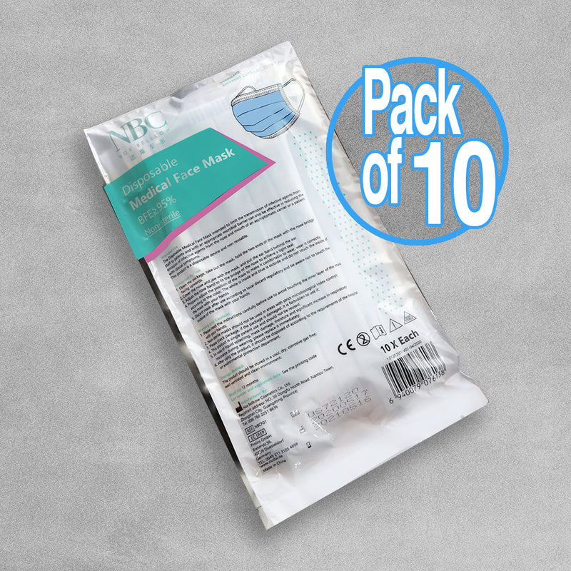 Type 1 Disposable Medical Face Masks - 10 Pack