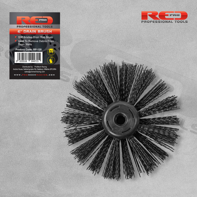"Red Pro 6"" 150mm Drain Rod Brush"