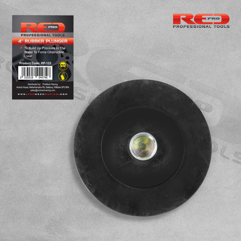 "Red Pro 4"" 100mm Drain Rubber Plunger"