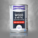 Johnstone's Interior Wood & Metal Interior Hardwearing Non Drip Gloss Brilliant White - 1.25 litre
