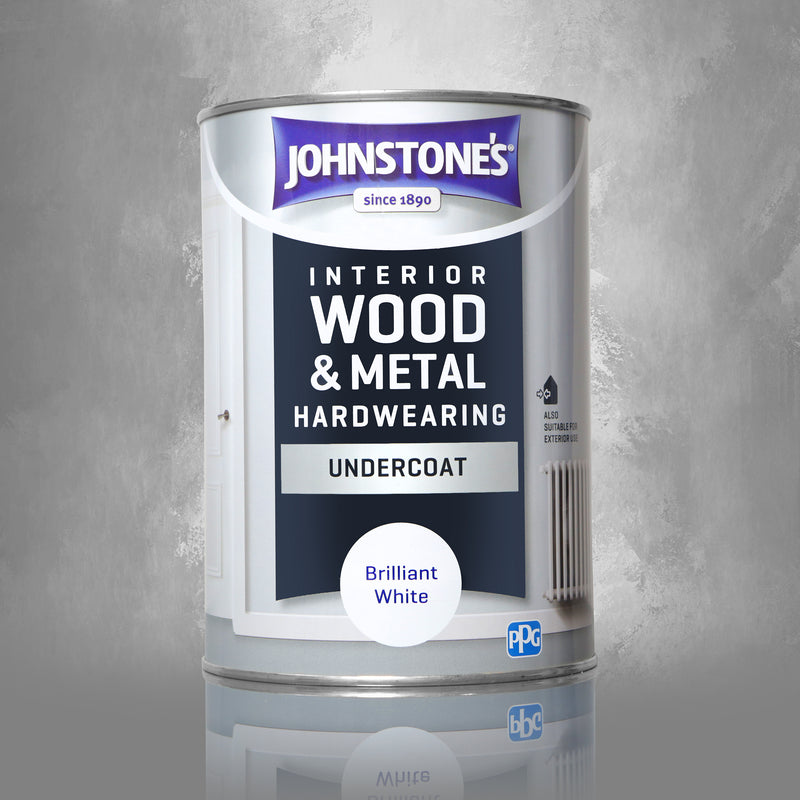 Johnstone's Interior Wood & Metal Hardwearing Undercoat Brilliant White - 1.25 litre