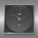 Twins Quartz Wall Clock - black glass and silver square case
