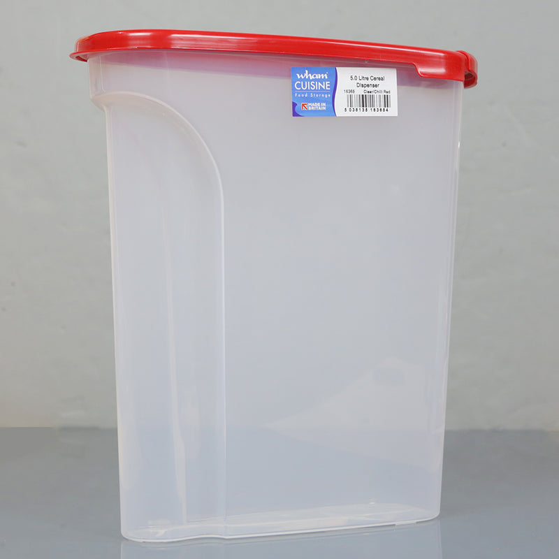 Wham Cuisine Cereal/dry foods dispenser Plastic Box 5 Litre -Chilli red