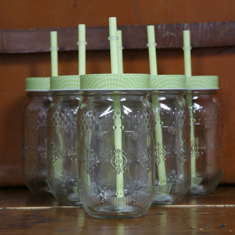 Parlane Glass retro jam jar style drinks jars with straws - Set of 6 - Apple Green