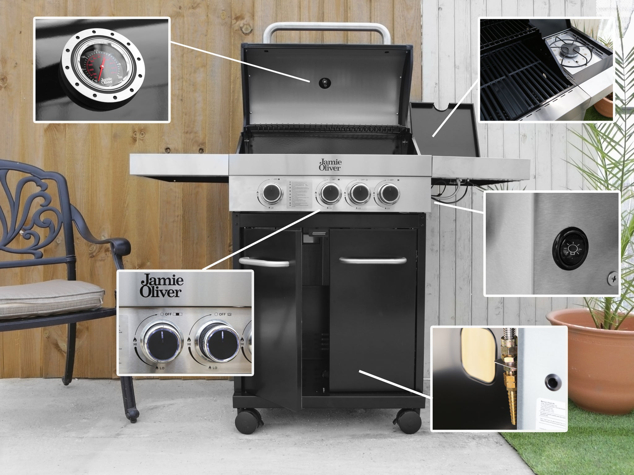 Genuine Jamie Oliver Classic 3S Gas BBQ With 3 Gas Burners & Cast Iron  Grills