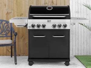 Genuine Jamie Oliver Classic 4SI Gas BBQ With 4 Gas Burners, Side Grill, Burner & Cast Iron Grills
