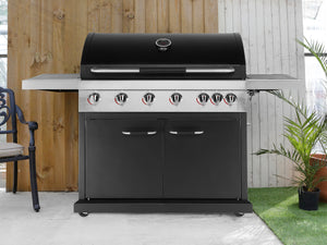 Genuine Jamie Oliver Pro 6 Gas BBQ With 6 Gas Burners, Side Hob, Griddle Plate & Cast Iron Grills