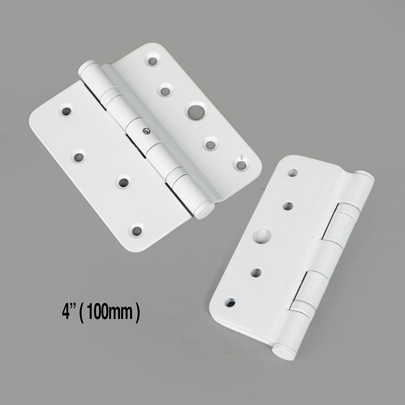 "10x White Steel Radius Ball Bearing Hinge 4"" (100mm)"