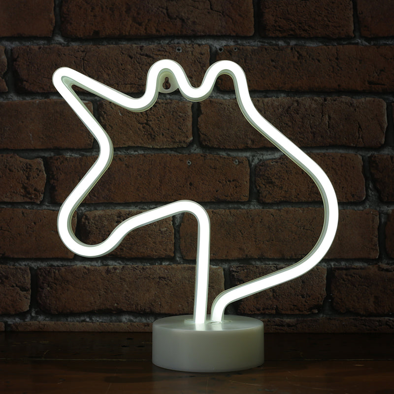 LED Neon Silhouette Light - White Unicorn